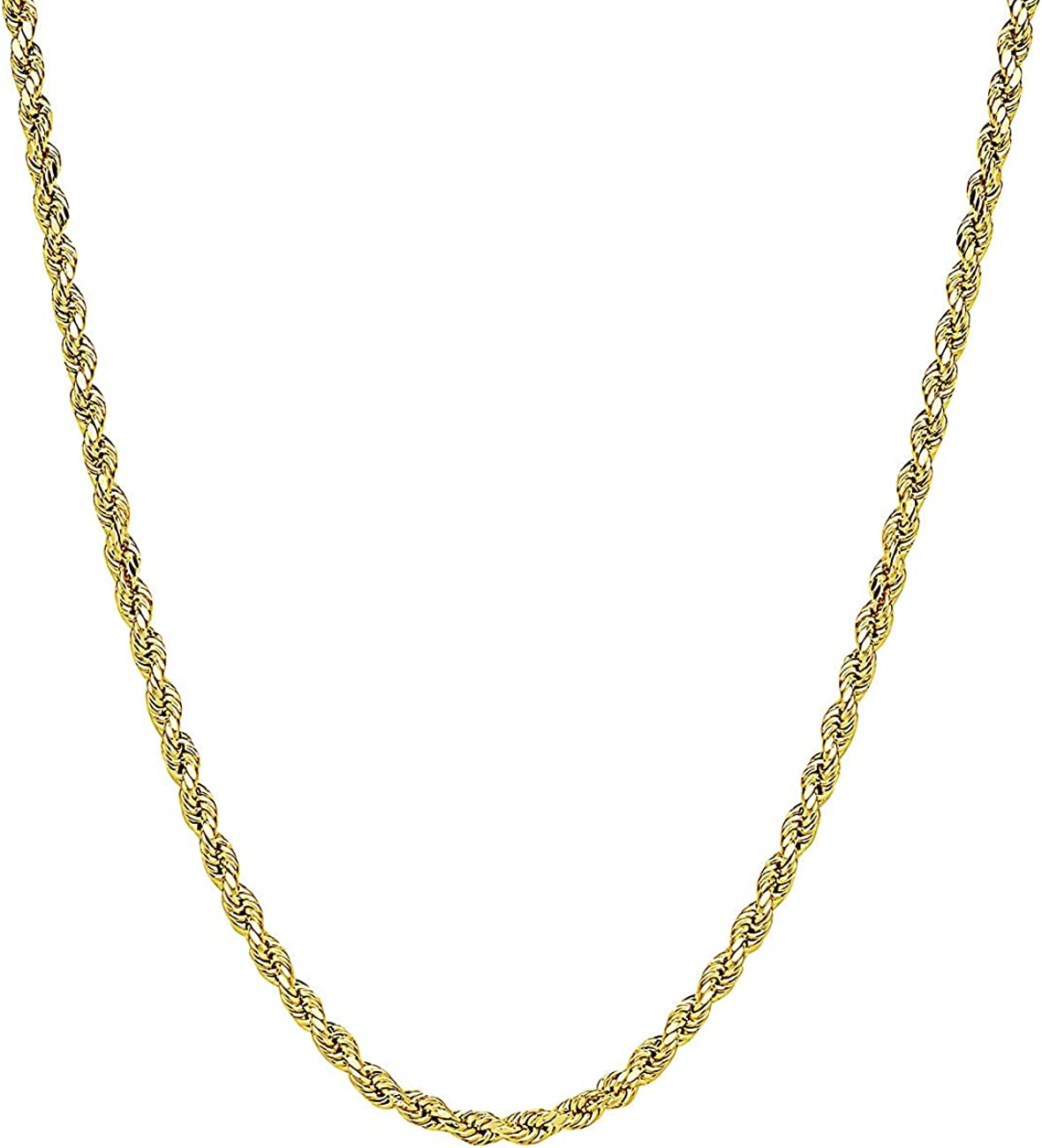 ITALY Jewelry 14K Gold Chain - 2.5MM Fancy Rope Chain Necklace, (18