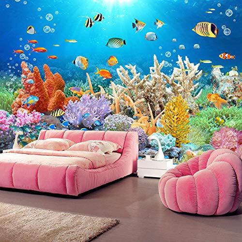 Benutzerdefiniertes Wandbild 3D-Korallenriff-Aquarium HD-TV-Hintergrundwand-Fototapete 3D-Raumtapeten Kinderlandschaftspapier-250 * 175 cm