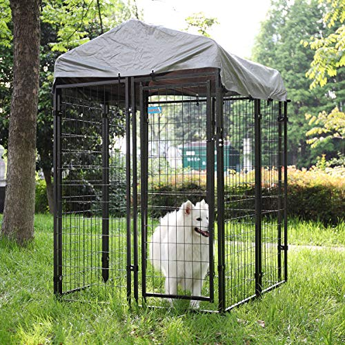 COZIWOW Heavy Duty Outdoor Dog Kennel and Crates for Large Dogs,Pet Playpen Cage House Run Fence Pin Play Pen with Roof Shade Cover