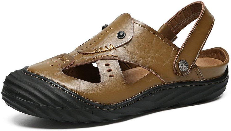 New Summer Dress Business Hollow Leather Sandals Men's Breathable Leather Casual shoes Men's Hole shoes (color   Khaki, Size   43)
