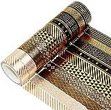 YUBX Oro negro Washi Tape Set cinta adhesiva decorativa Washi Glitter Adhesivo...