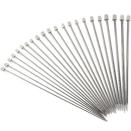 Aiguilles tricotées, 11 paires de 36cm Acier Inoxydable Aiguilles Tricotées Simples Kit Set Boîtier 2.0mm 2.5mm 3.0mm 3.5mm 4.0mm 4.5mm 5.0mm 5.5mm 6.0mm 7.0mm 8.0mm