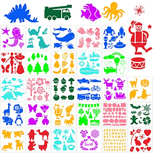Qpout 28 piezas Plantillas de pintura mixta para niños, Plantillas de dibujo de plástico de 7 x 7 pulgadas, plantilla de pintura digital de coche de mariposa de tiburón de sirena de dinosaurio animal
