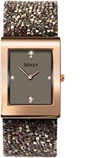 Seksy Women's Swarovski Crystal Bracelet Watches, Made with Swarvoski Crystals on Strap, Various Styles: Black, Silver, Rose Gold, Blue, Leopard, Zebra, Water Resistant, Adjustable
