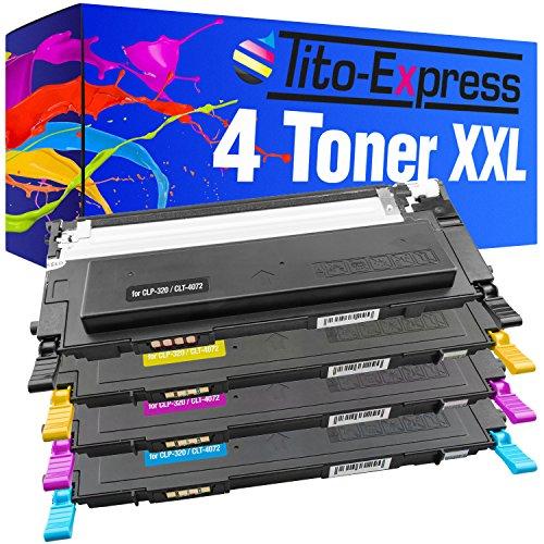 Tito-Express PlatinumSerie Set 4X Toner-Kartusche XXL kompatibel mit Samsung CLT-4072S CLP-320 CLP-320N CLP-325 CLP-325N CLP-325W CLX-3185 CLX-3185N CLX-3185FN CLX-3185FW
