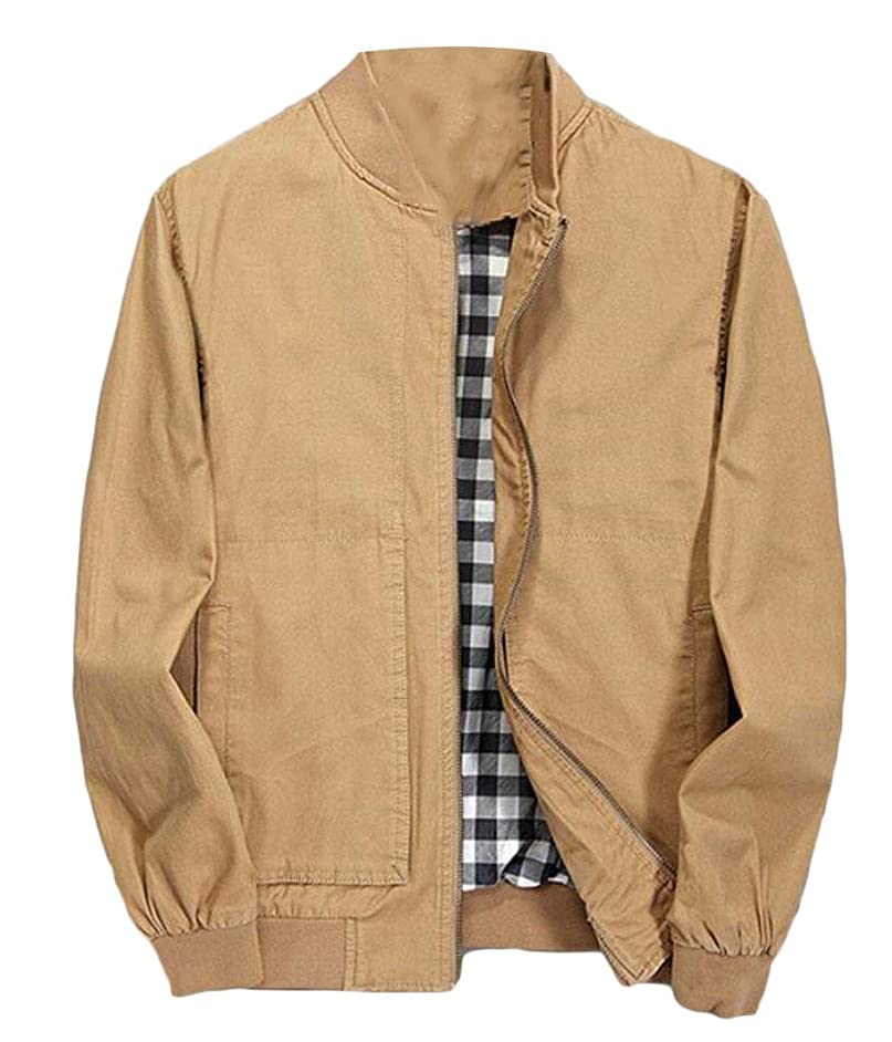 hower Men's Zip Cotton Jacket Long-Sleeved Lightweight Flight Casual Coat