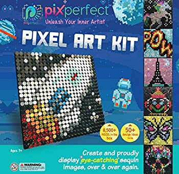 Pix Perfect Pixel Art Kit for Fans of Pixel Art Perler Beads Crafts or Sequins 20 Colors 50+ Design Ideas Hours of Creative Fun!