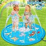 Sunshine smile Spritzmatte Kinder, Splash Pad 68 Inch, Sprinkler Wasser, Wasserspielzeug Spielmatte,...