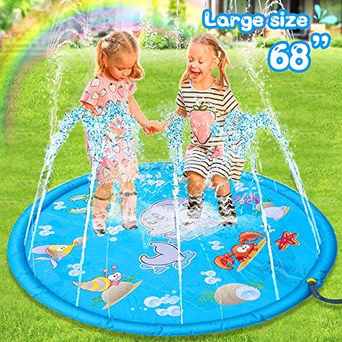 Sunshine smile Tappetino Gioco d'Acqua per Bambini,Tappetino Acqua Gonfiabile,Tappeto Gioco d'Acqua da Giardino,Splash Play Mat, Sprinkler Pad,Spruzzi d'Acqua Tappetino Gonfiabile