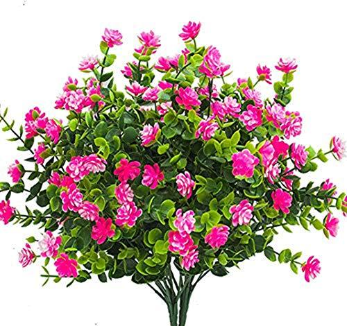 Ruiuzi flores artificiales artificiales, paquete de 4 arbustos para exteriores, resistentes a...