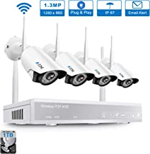 Wireless Security Camera System, A-ZONE 4CH 1080P WiFi NVR System with 4Pcs 960P Wireless Indoor Outdoor IP Cameras Night Vision, P2P, Easy Remote View, Pre-Installed 1TB Hard Drive