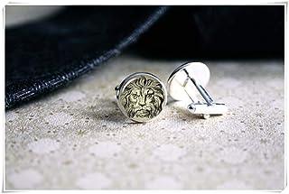 Gemelos con diseño de león de la familia «We are Forever Family», gemelos personalizados, regalos para hombres, gemelos de...