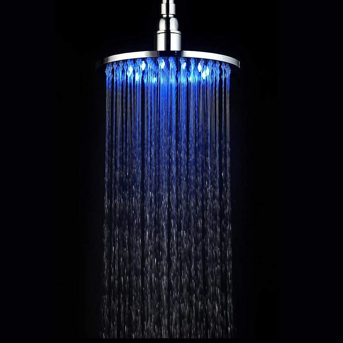 プロット文献唯一8インチのLEDレインシャワーヘッド、バスルームラウンドトップスプレー、シリコンノズルを備えた大型ステンレス鋼のシャワーヘッド超薄型降雨風呂シャワー