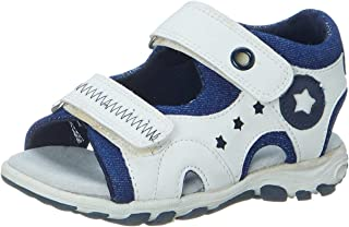 Skippy Velcro Closure Open Toe Sandals for Boys - White and Navy