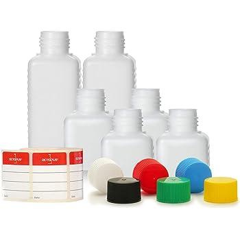 2/x 50/ml y 2/x 100/ml Octopus botellas de pl/ástico 2/x 30/ml HDPE botellas de pl/ástico con 6/colores agarraderas cuadrado botellas con etiquetas etiquetas