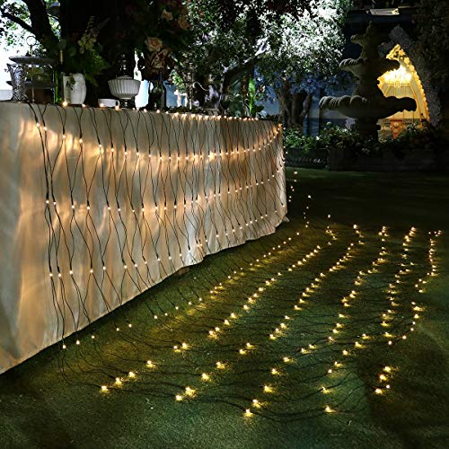 YUNLIGHTS Christmas Tree Lights, LED Net Lights Christmas Tree Decorations 9.8ft x 6.6ft 330 LEDs Mesh Fairy Lights Tree Wrap 8 Lighting Modes for Christmas Wedding Valentine Party Decorations