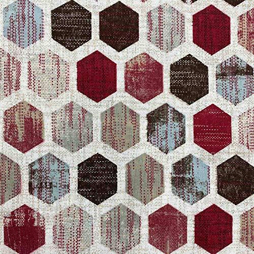 Kt KILOtela Tela por Metros de loneta Estampada - Ancho 280 cm - Largo a elección de 50 en 50 cm | Geométrico, hexágonos - Rojo, Granate, marrón