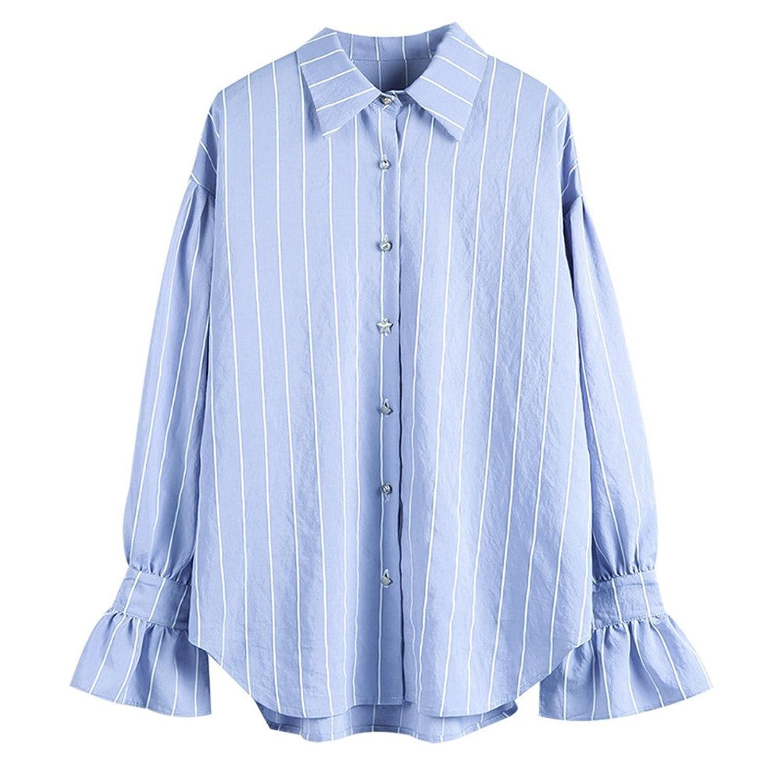 [美しいです] シャツ レディース 春 夏 ブラウス 長袖 シースルー フォーマル ラッパ袖 シャツ ストライプ