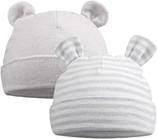 Original Cotton Newborn Beanies Striped Cute Baby Hat for Boys Girls Bear Ears Infant Beanie 2-Pack
