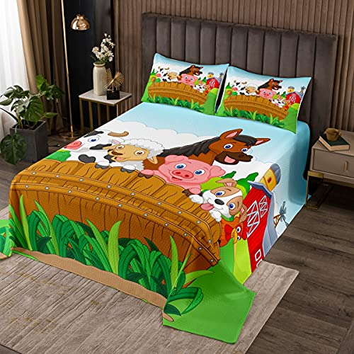 Happy Farm Poultry Cartoon Pattern Quilted Coverlet Cute Pig Dog Duck Cow Horse Print Bedspread Twin Happy Farmhouse Theme Bedroom Coverlet Sets 2 Pieces(1 Coverlet Set with 1 Pillow Sham)