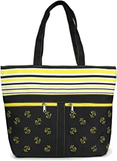 Me Plus Women Metallic Trimmed Large Beach Tote Bag Zipper Closure Inner Pocket (5 Styles)