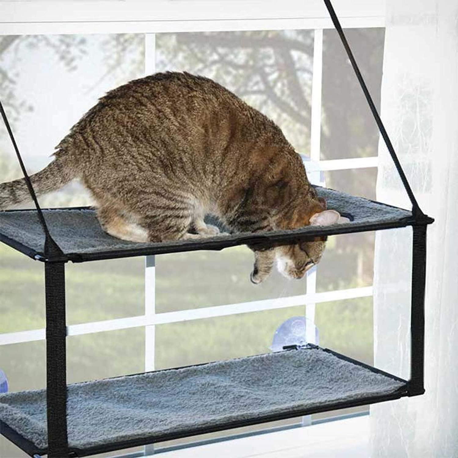 Cat Hammock, Pet Products Cat Window Perch Hammock with Upgraded Version 4 Big Suction Cups  Single Level or Double Stack,doublelayer