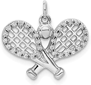 Affluent Rock 14k White Gold Diamond Racket and Ball Pendant