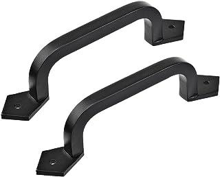 """Lizavo - 9"""" Square Door Pull Handle in Black - Solid Cast Iron, Black"""