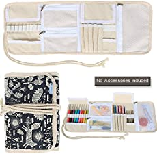 Teamoy Crochet Hook Case, Canvas Roll Bag Holder Organizer for Various Crochet Needles and Knitting Accessories, Compact and All-in-one, Animal World
