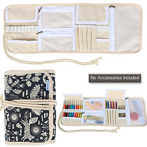 Teamoy Crochet Hooks Case, Canvas Wrap Organizer with Zippered Web Pockets for Various Crochet Needles and Knitting Accessories, Rolled-up and Easy to Carry, Cartoon Dogs (No Accessories Included)