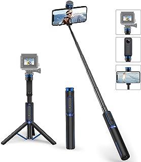 ATUMTEK Palo Selfie con Trípode y Base de Montaje de Aluminio y Extensible Selfie Stick 3 en 1 con Control Remoto Inalámbrico y Rotación de 360° para iPhone 11/X/XR/XS Max/8/7 Plus Samsung y Otras