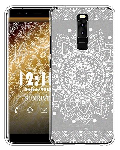 Sunrive Für Leagoo S8 Hülle Silikon, Handyhülle matt Schutzhülle Etui Hülle Backcover für Leagoo S8(TPU Blume Weiße)+Gratis Universal Eingabestift