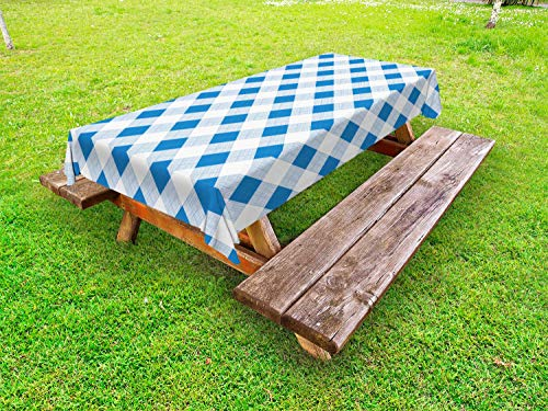 ABAKUHAUS Blauw en wit Tafelkleed voor Buitengebruik, Geblokte Plaid Grid, Decoratief Wasbaar Tafelkleed voor Picknicktafel, 58 x 120 cm, Azure Blue White