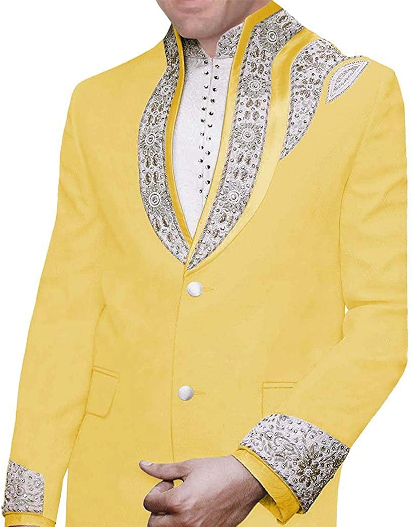 INMONARCH Mens Yellow Embroidered 3 Pc Jodhpuri Suit Designer JO0341