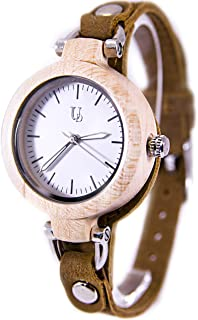 Womens Wooden Watches with Genuine Leather Strap, Anniversary Gift, Gift for Her