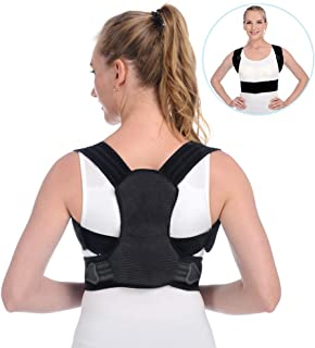 Anoopsyche Posture Corrector for Women and Men Upper Back Brace and Provide Clavicle Support for Thoracic Kyphosis and Shoulder Neck Pain Relief (Medium 27.6-39.4 inch)