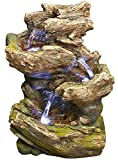 """14"""" Olympia Log Fountain w/LED Lights: Rain Forest Log Outdoor/Indoor Water Feature"""