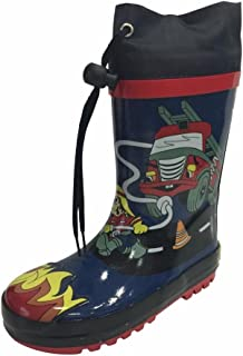 SIYA Little Boys Blue & Black Fire Truck Fireman Rain Boots w/Lining, New