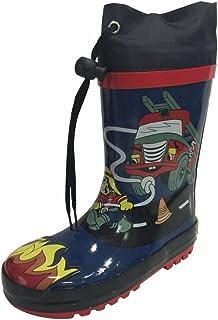 SIYA Little Boys Blue & Black Fire Truck Fireman Rain Boots w/Lining, New
