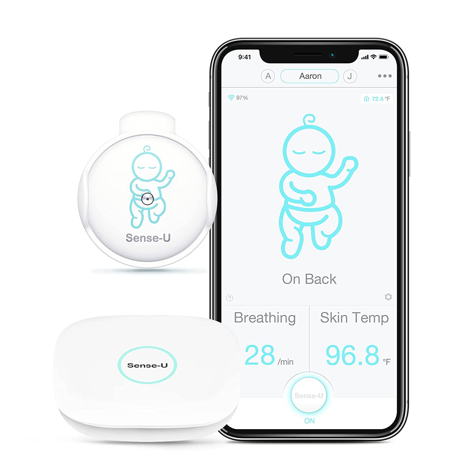 [Newly Upgraded] Sense-U Smart Baby Breathing Monitor 2 Monitors Infant Breathing Motion, Rollover and Skin Temperature - Works Anywhere with or Without Your Phone with Real-time Alerts (Green)