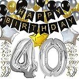 """KUNGYO Clásico Decoración de Cumpleaños -""""Happy Birthday"""" Bandera Negro;Número 40 Globo;Balloon de Látex&Estrella,Colgando..."""