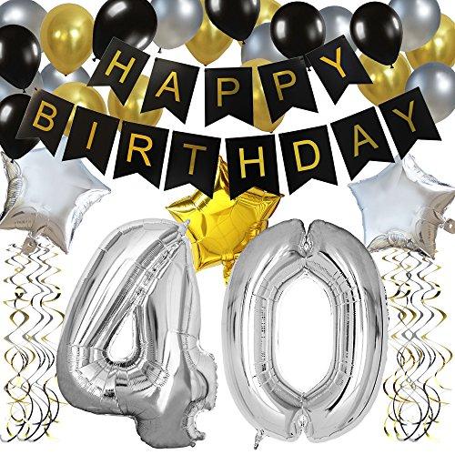 """KUNGYO Clásico Decoración de Cumpleaños -""""Happy Birthday"""" Bandera Negro;Número 40 Globo;Balloon de Látex&Estrella,Colgando Remolinos Partido para el Cumpleaños de 40 Años"""