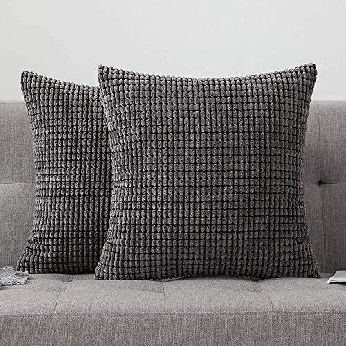 MBV Corn Square Throw Pillow Case Funda de cojín Hogar para sofá Silla Sofá/Dormitorio Funda de almohada Decorativa 12x20 pulgadas 30x50cm Marrón, Gris, 24'x24, 2 piezas