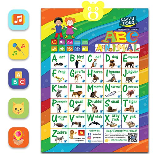 SavvyToyZ Electronic Interactive Alphabet Wall Poster for Learning ABC, Animals & Music. Best Educational Toys for Toddler 2 to 5 Year Olds. Fun for Boys & Girls at Preschool, Daycare, Kindergarten