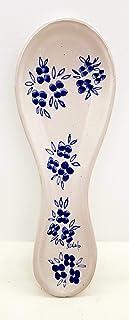 Poggiacucchiaio Linea Fiori Blu dimensioni 24 x 8,5 cm Realizzato a Mano Le Ceramiche del Castello Made in Italy
