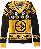 NFL Women's V-Neck Sweater, Pittsburgh Steelers, Large