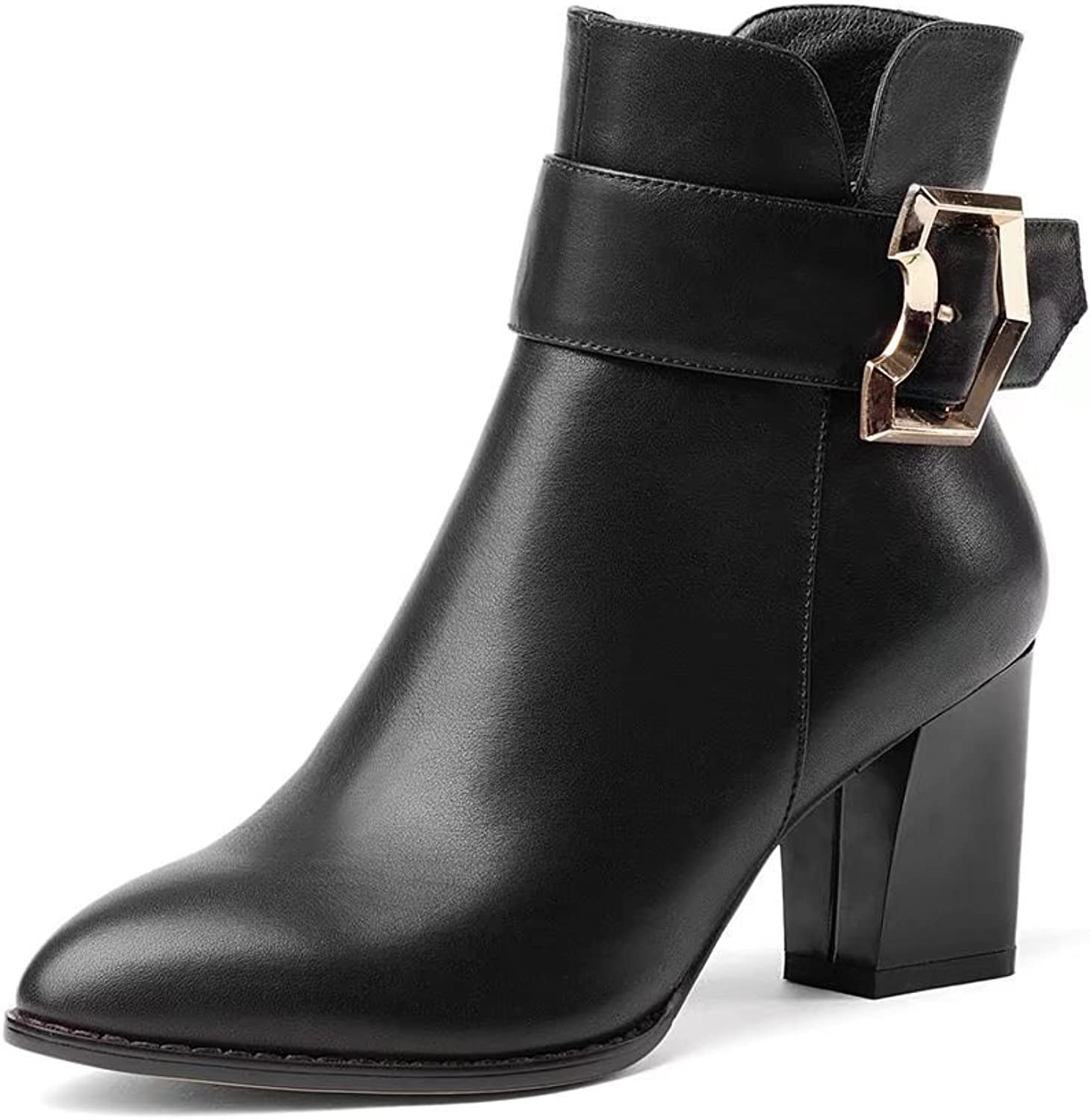 VIMISAOI Women's Black Fashion Chunky Heel Pointed Toe Genuine Leather Buckle Zipper Ankle Boots