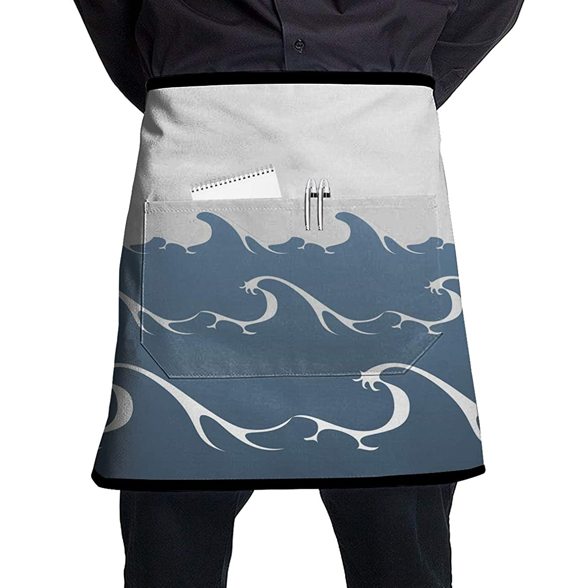 ALLMYHOMEDECOR Summer Ocean Sea Waves Waist Aprons Bib Mens Womens Adjustable Polyester Cooking Gardening BBQ Kitchen Chef Apron for Outdoor Serving Grill Restaurant Cleaning Baking Crafting