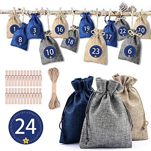 Erlliyeu Adventskalender zakjes om te vullen, 1-24 adventsgetallen stickers, kerstcadeauzakjes, adventskalender 2019, kerstkalender knutselset, knutselen, vulling voor mannen en kinderen