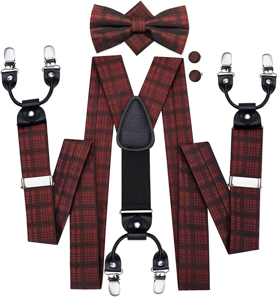 SKREOJF Men's Suspenders Red Plaid Vintage Fashion 6 Clips Braces for Men Wedding Work Suspender and BowTie Set (Color : A, Size : Adjustable)
